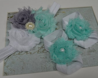 Newborn Barefoot Sandals and Headband Set...Baby Barefoot Sandals...BabyGirl Sandals...Shabby Chic Sandals...Shabby Headband...Rosette Bow