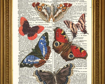 "BUTTERFLIES ART PRINT: Original Vintage Dictionary Page Wal Hanging Decor (8 x 10"")"