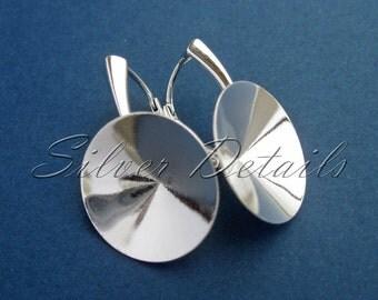 Sterling Silver Leverbacks for Swarovski Crystals Rivoli 18mm model ES90 1 pair