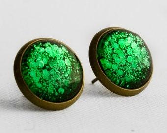 Green Chunky Glitter Post Earrings in Antique Bronze - Bright Green Mixed Hexagonal Glitter Stud Earrings