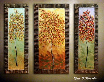 """Triptych Original Painting.Palette Knife.Modern.Abstract Autumn Tree.Golden Sculptured Frame.3 panels 42""""x 36"""" - by Nata S..  MADE to ORDER."""