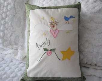 Pillow Decorative Angel Blue Bird Embroidered Hand Painted on Muslin Avocado/Olive Green Home Decor