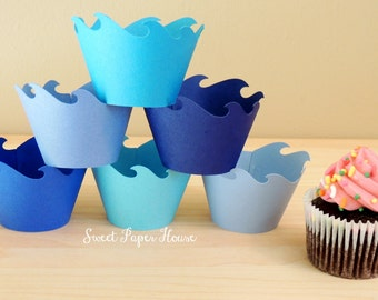 40 Wave Cupcake Wrappers - Six Shades of Blue (Cardstock) (Summer, Spring, Party, Theme, Water, Pool, Shark, Fish, Whale, Dolphin, Frozen)