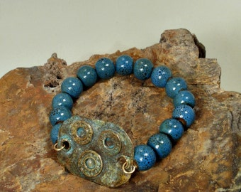 Bullet Casing Bracelet Ceramic Beads Turquoise and Brass Casings