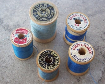 Wooden Spools of Thread in Blues