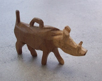 Hand Carved Wood Rhino Pendant