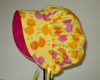 Baby Bonnet, Sun Hat, Baby Chicks Bonnet, Sun Bonnet, Newborn Hat, Summer Hat, Cotton Bonnet, Baby Girl Clothes, Accessories,  Made To Order