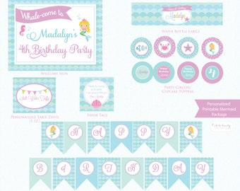 PRINTABLE Mermaid Birthday Party Package - DIY Birthday