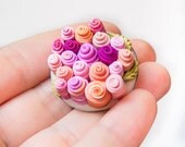 Lovely Roses - Shabby Chic Beanie Pin Romantic Tea Party Rose Garden  Mininature Clay Brooch