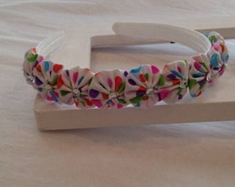 Girls Headband with Multi Color Polka Dot Fabric Yoyo's