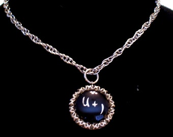 Vintage U + I You and I Love Locket Silver Black Enamel Romantic Pendant Necklace