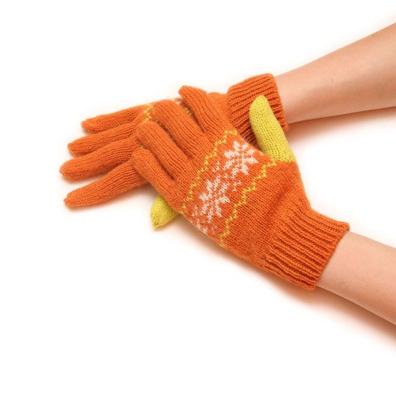 Orange knitted gloves - womens gloves, knit gloves, stylish gloves, handmade gloves, fancy gloves, winter gloves, warm gloves