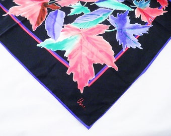 Vera scarves: 1960s fashion, unique vintage head scarf, black with vivid red, blue and green