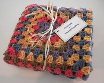 Crochet Baby Blanket Newborn Infant Soft Multi Color  Stroller Carriage Car Size 26 X 26 Handmade
