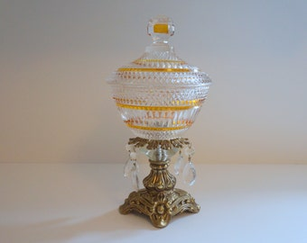 Mid Century Crystal and Metal Pedestal Candy Dish with Lid -  Floyd Jones Vintage