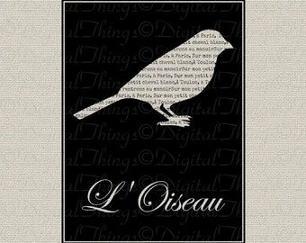 French Script French Bird Silhouette Wall Decor Art Printable Digital Download for Iron on Transfer  to Fabric Pillows Tea Towels DT906