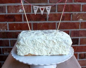 Initials Cake Topper, Wedding Cake, Custom, Banner, Glitter