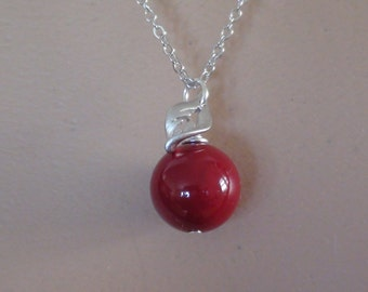 Clearance-Coral Red Apple Pendant - Bridesmaids, Wedding Jewelry-White Gold Plated Necklac