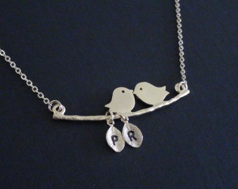 Clearance-Personalized Initial-Two Lovely Birds On The Branch and Two Initial Leafs-Yellow Gold Plated Necklace