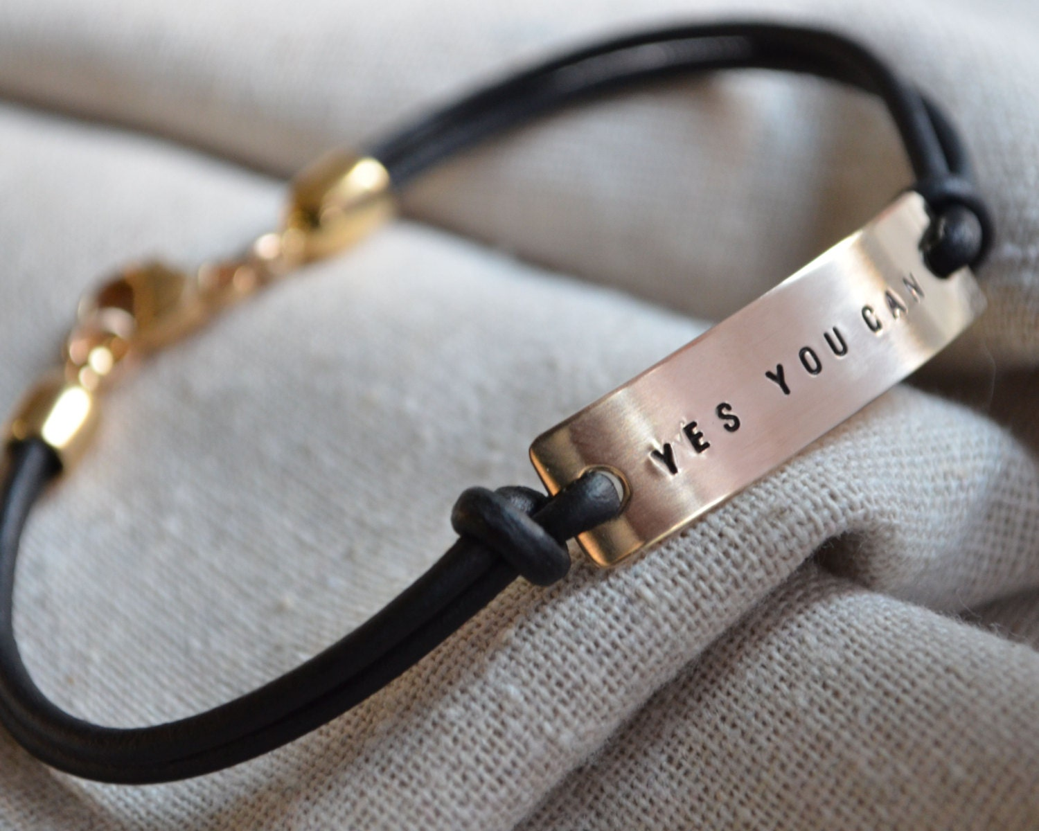 Personalized Gold Mantra Bracelet Leather Hand Stamped