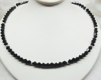 Black Crystal Necklace Black Necklace Black and Silver Necklace Adjustable Necklace 925 Sterling Silver Necklace BuyAny3+Get1 Free