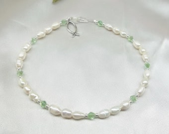 Jesus Fish Anklet White Pearl Anklet Peridot Green Crystal Anklet 925 Sterling Silver Anklet BuyAny3+Get1Free