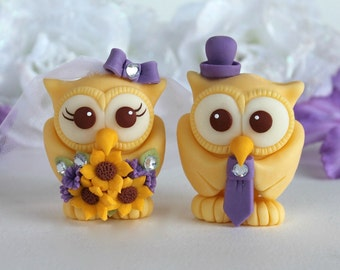 Custom owl wedding cake topper, love bird cake topper, bride and groom owl cake topper, sunflower wedding, yellow purple owls with banner