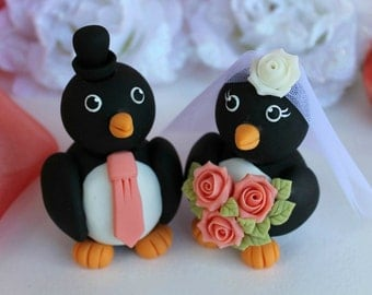 Wedding custom penguin cake topper, love bird cake topper with banner, coral wedding, spring summer wedding