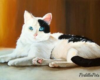 """Pet portrait 10""""x14"""", custom cat portrait hand painted on canvas"""