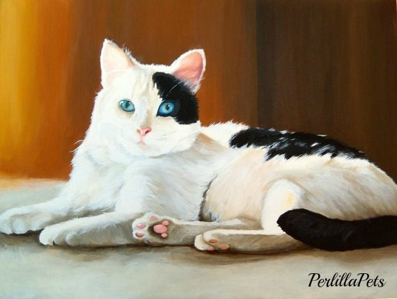 "Pet portrait 10""x14"", custom cat portrait hand painted on canvas"