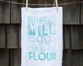 Basic Grocery List Flour Sack Tea Towel with Handlettering
