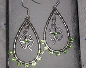 Silver St Patty (Patrick) Day Floating Shamrock w 16 Peridot Crystals Boxed
