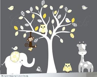 Children's wall decal - nursery tree wall decal sticker - yellow grey white - 0009