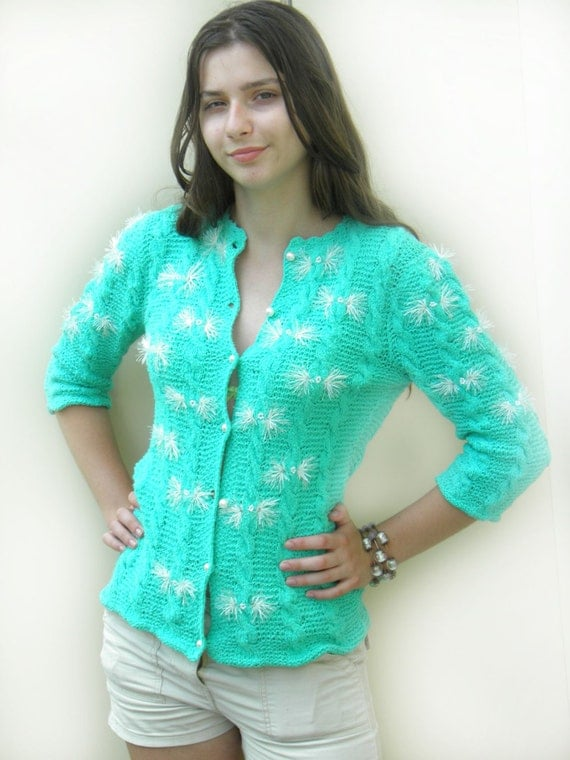 RESERVED Hand Knit Woman Sweater, Eco Cotton/ mint Summer Cardigan/Sweater in Textured Cotton/ Sweater Button Front /Womens Top