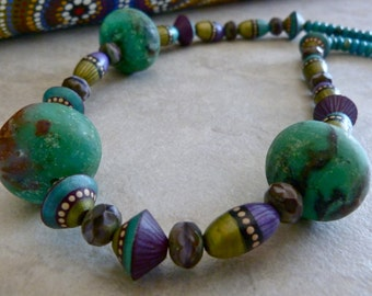 Boho Purple, Green and Turquoise Handmade and Organic Beaded Necklace and Earrings