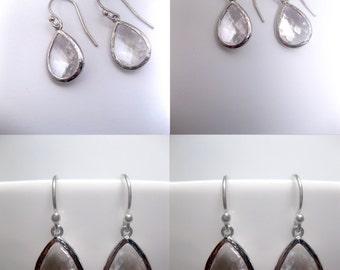 Clear Earrings - Teardrop - Clear Teardrop Earrings - Clear Silver With Sterling Silver Earwires