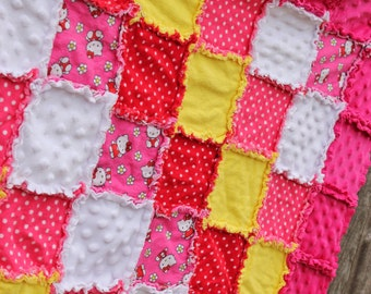 HELLO KITTY Rag Quilt/Blanket! (Pink, yellow, red) Fabulous baby shower or birthday gift, adoorable girl nursery  bedding/quilt