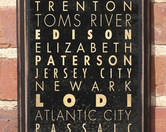 New Jersey NJ Cities Wall Art Sign Gift Present Decor Vintage Style Newark Paterson Atlantic Garden State Atlantic City Garden State Antique