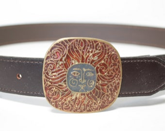 Vintage Tribal Red and Orange Sun Buckle Leather Belt Size 33 34 35 36 37 38