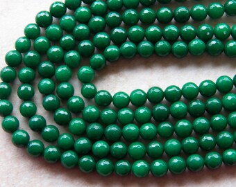 8mm Jade Beads - Emerald Jade Micro Faceted Round Polished Gemstone Beads, Half Strand (INDOC71)