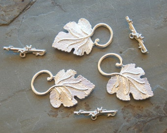 Fancy Bright Silver Plated Grape Leaf and Vine Toggle Clasps, 3 Sets (INDOC339)