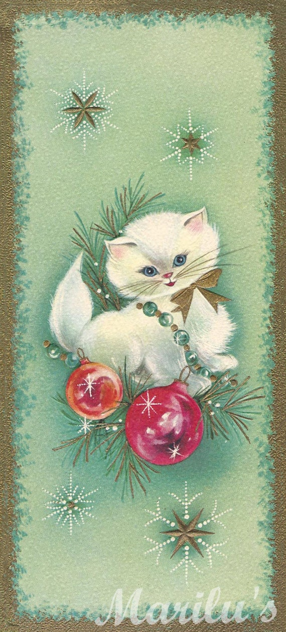Vintage Green Kitsch White Kitty with red, orange ornaments, gold white stars Christmas Card - Digital Download Customized Printed