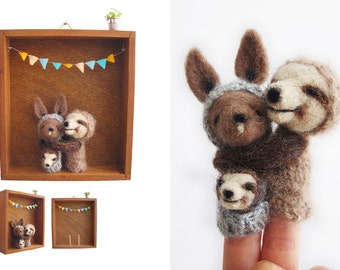 Kangaroo and Sloth Needle Felted Finger Puppets in a Vintage Wooden Box