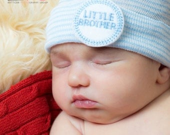 READY to SHIP little brother hospital hat (newborn hospital hat, newborn boy hat, little brother hat, newborn boy coming home outfit)
