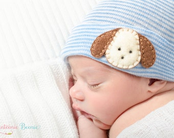 puppy newborn boy hat blue and white stripes newborn hospital hat for a baby boy.   Baby boy hospital hat with puppy, boy hospital hat