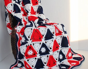 Afghan - Triangle Patchwork Blanket - Red, White, and Blue - Christmas in July SALE - 20 % off until July 31st