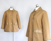 1960s Bonnie Cashin for Sills vintage coat // tan canvas with contrast faux leather trim // womens medium