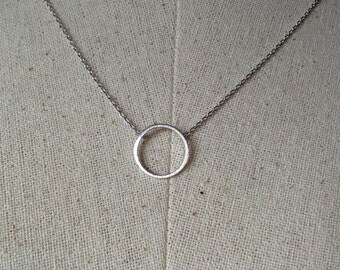 Silver Circle Necklace, Dainty Necklace, Tiny Round Necklace