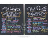 "Chalkboard style drawing for teacher, 16""x20"" canvas, The Original Favorite Things Poster™, educator gift"