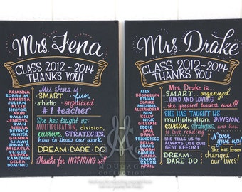 "Thank you gift for teacher, custom chalkboard style drawing on 16""x20"" canvas, The Original Favorite Things Poster™"